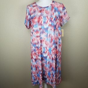 LuLaRoe Carly Pink Blue White Roses Dress Size M